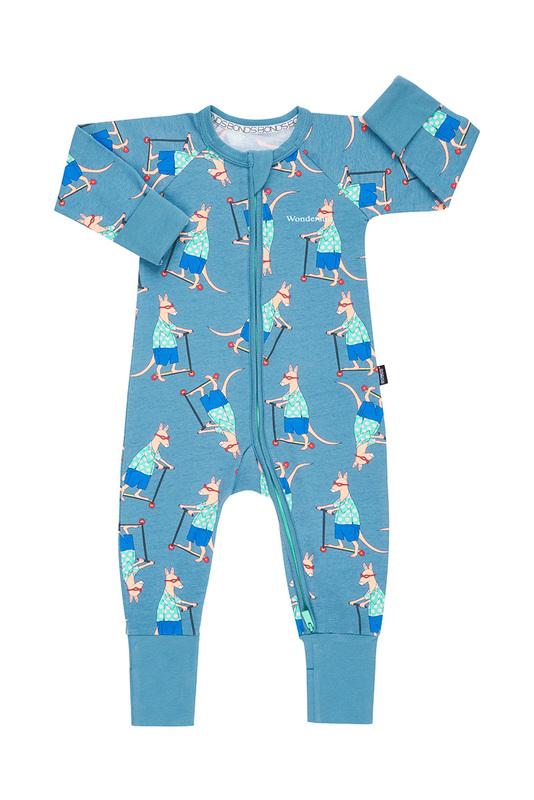 Bonds Zip Wondersuit Long Sleeve - Scooter Roo Ig Blue (12-18 Months)