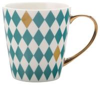 Maxwell & Williams Aurora Mug Gold Handle 300ML Diamond Green