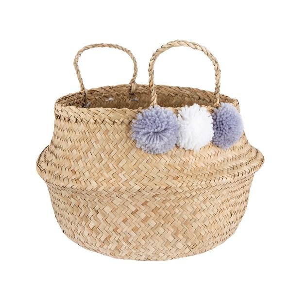 Seagrass Grey Pom Pom Storage Basket