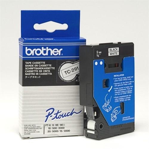 Brother TC-291 Label Tape - Black on White (9mm x 8m)
