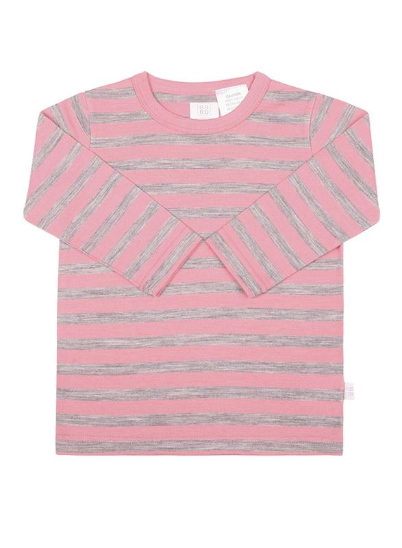 Babu: Merino Crew Neck Long Sleeve T-Shirt - Pink Stripe (3 Years)