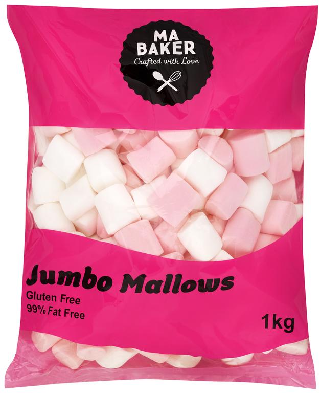 Ma Baker: Bulk Pink & White Jumbo Mallows (1kg)