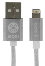 Moki Braided King Size Lightning SynCharge Cable - Silver 3m