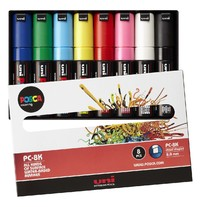 Uni Posca: 8.0mm Bold Chisel Markers - Assorted Colours (8-Pack)