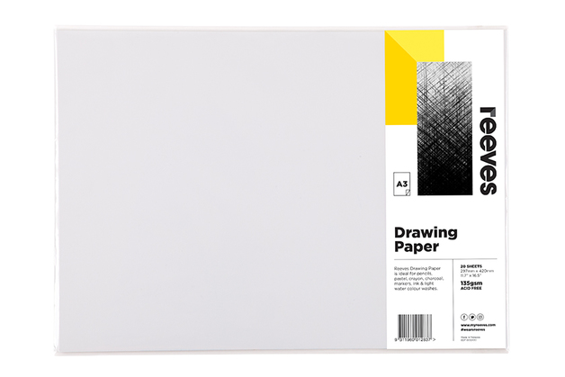 Reeves: Drawing Paper - A3 (135GSM, Pack of 20)