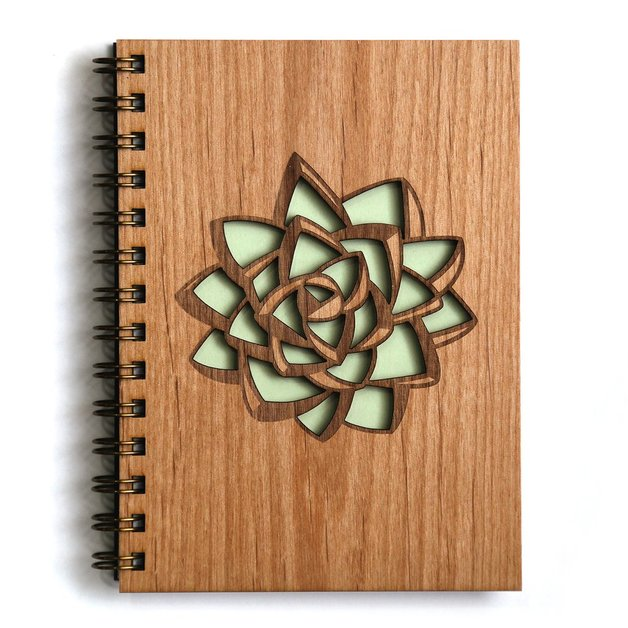 Cardtorial Wooden Journal - Succulent