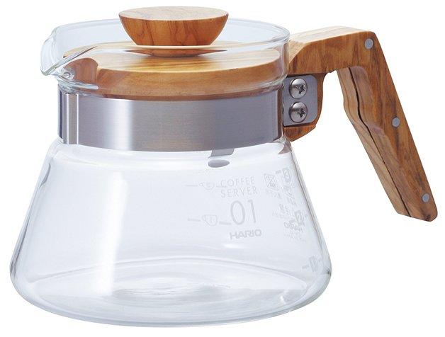 Hario: V60 Glass Coffee Server 02 - Olive Wood (400ml)