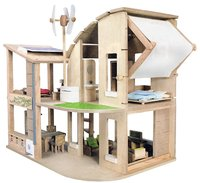 Plan Toys - Green Dollhouse With Furniture