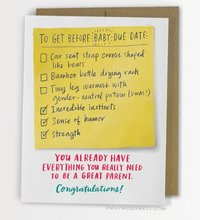 Emily McDowell: Due Date Checklist Baby - Greeting Card