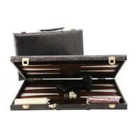 "Backgammon 15"" Alligator Skin Case - Black"