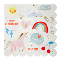Meri Meri - Rainbow and Unicorn Large Napkins (20 Pack)
