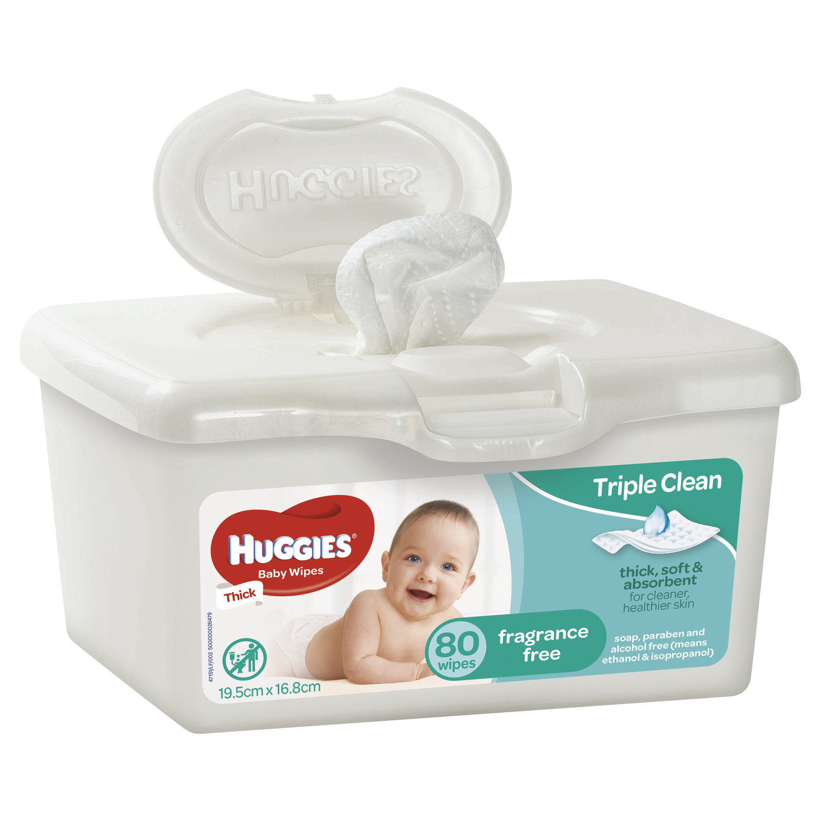 Huggies Baby Wipes Tub - Fragrance Free (80 Wipes) image