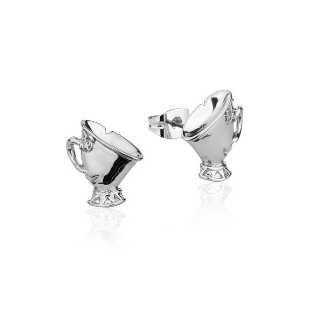 Couture Kingdom: Disney Beauty and the Beast Chip Studs - White Gold