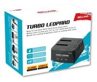 "Welland: Turbo Leopard ME-603E 2.5"" + 3.5"" SATA to USB 3.0 DUAL BAY HDD Docking Enclosure - Black"