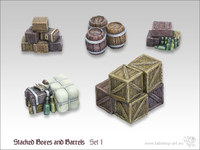 Tabletop-Art: Stacked Boxes & Barrels #1 - Parts Set