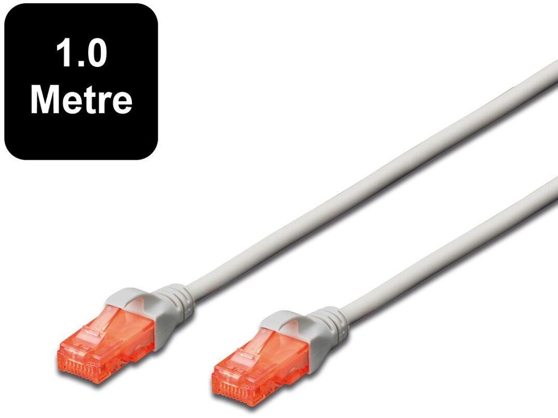 1m Digitus UTP Cat6 Network Cable - Grey image