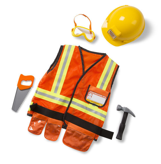 Melissa & Doug: Construction Worker Costume Role Play Set
