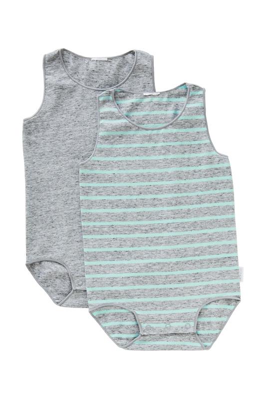 Bonds Wonderbodies Single Suit 2 Pack - Granite Marle and White Stripe/Inked Marle - 6-12 Months