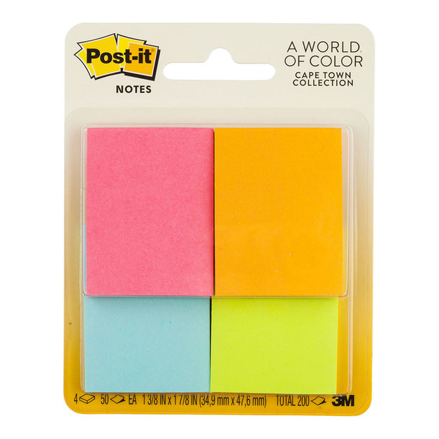 Post-it: Notes 653-4AF Mini Page Markers - 4 Pack/50 sheet pads per packet