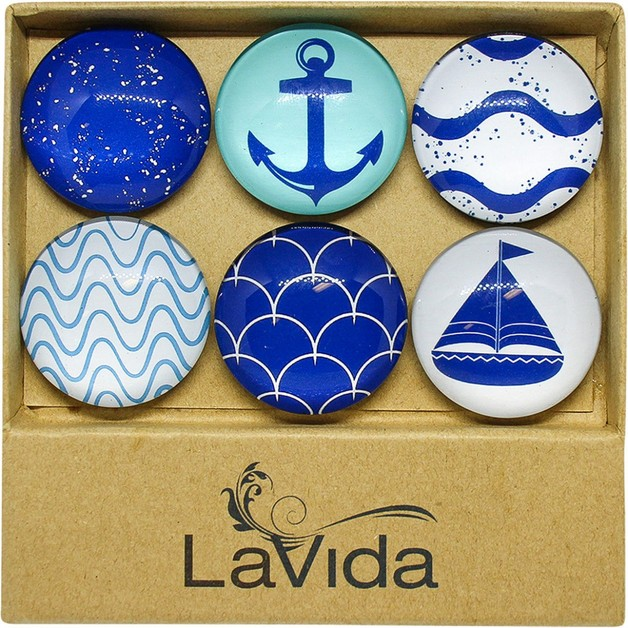 LaVida: Glass Magnets - Nauti (Set of 6)