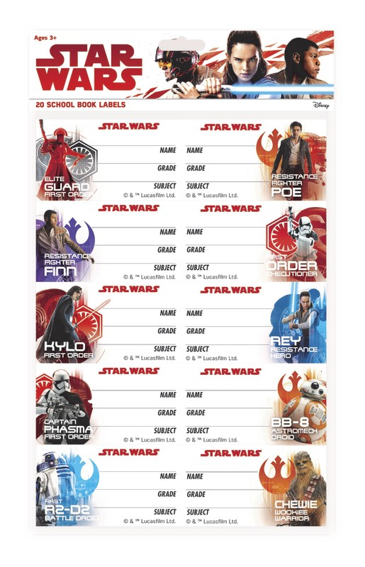 Star Wars: The Last Jedi Book Labels