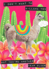 Ticker Tape Greeting Card - A-llama You
