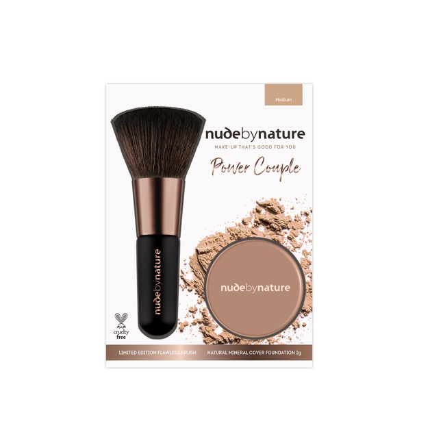 Nude by Nature Power Couple Mineral Foundation & Brush Duo (Medium)