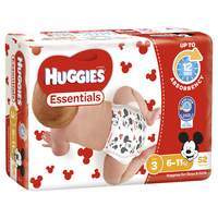 Huggies Essentials Nappies Bulk - Crawler 6-11kg (52)