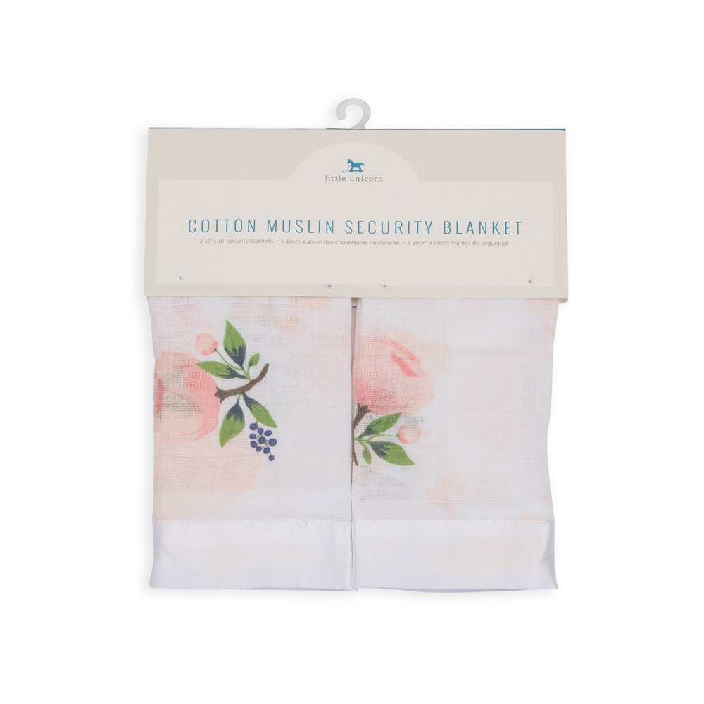 Little Unicorn - Cotton Muslin Security Blanket - Watercolor Rose (2 Pack) image