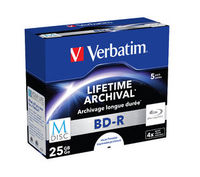 Verbatim M-Disc BDR 25GB 4x White Inkjet - 5 Pack