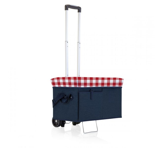 Ottoman Cooler with Trolley - Navy/Red Gingham