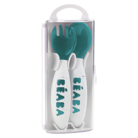 Beaba: 2nd age training fork and spoon storage case included - Blue