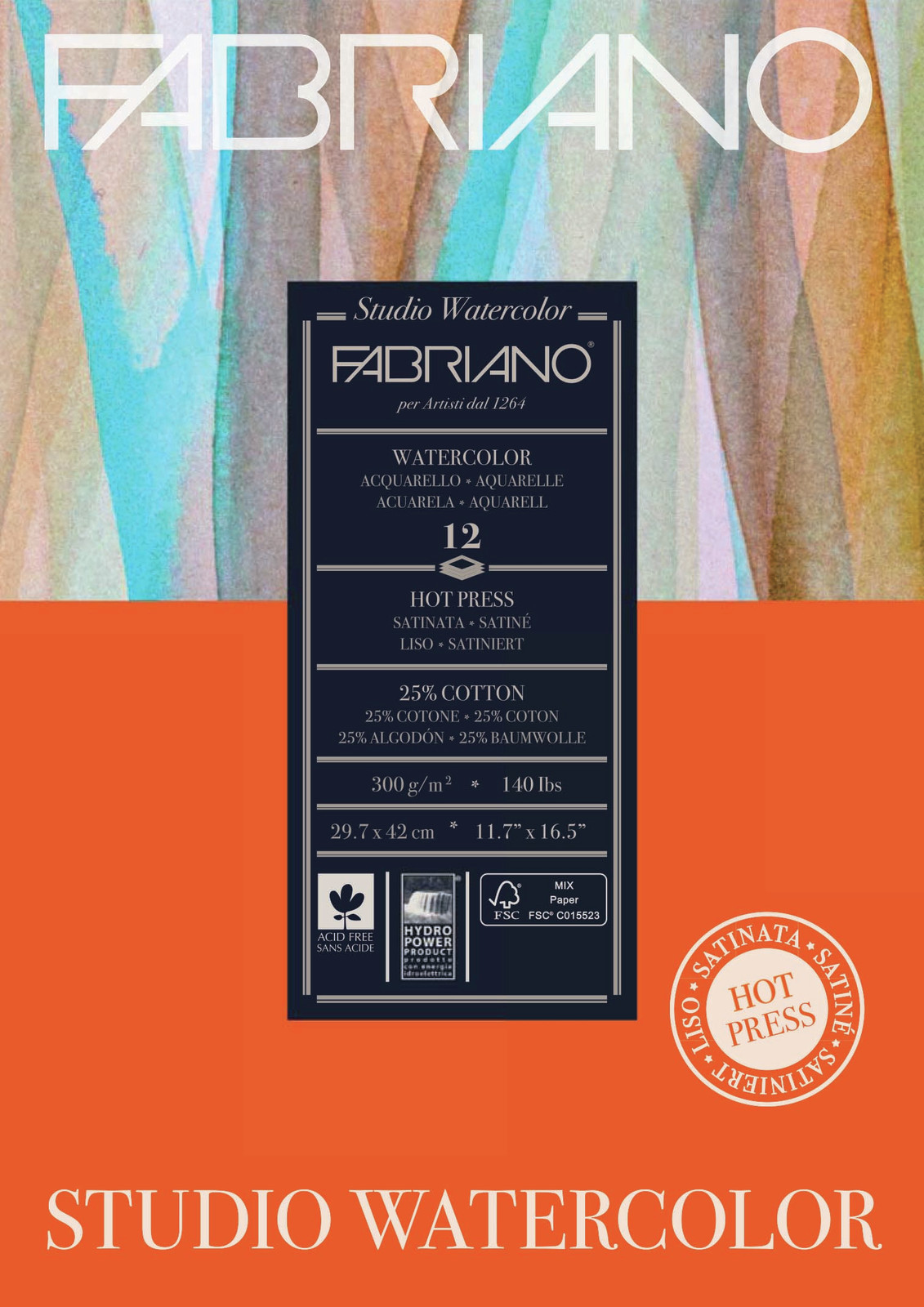 Fabriano: Studio Watercolour Pad 300gsm A3 Hot Pressed - 12 Sheets image