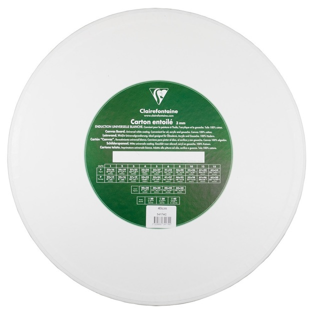 Clairefontaine White Canvas Board 3 mm Thick 20cm Round