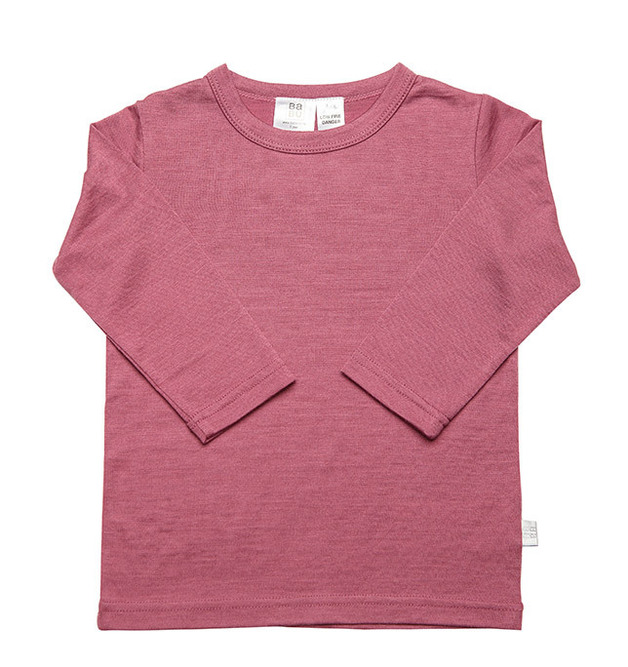 Babu Merino Crew Neck Long Sleeve Tee - Pink Heather - (1 Year)