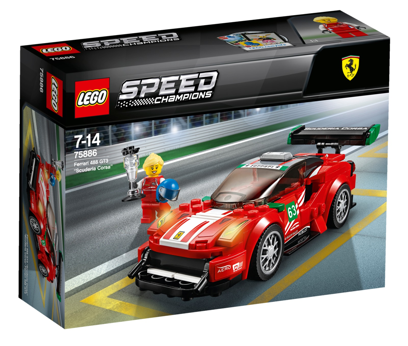 lego speed champions ferrari 488 gt3 scuderia corsa 75886 toy at mighty ape nz. Black Bedroom Furniture Sets. Home Design Ideas