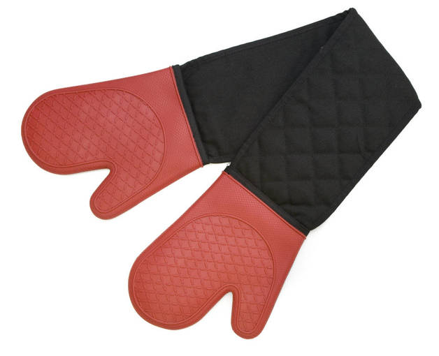 Silicone/Fabric Double Oven Glove - Red