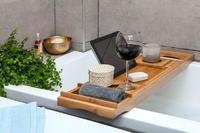 Bamboo Extending Bath Caddy - Natural image
