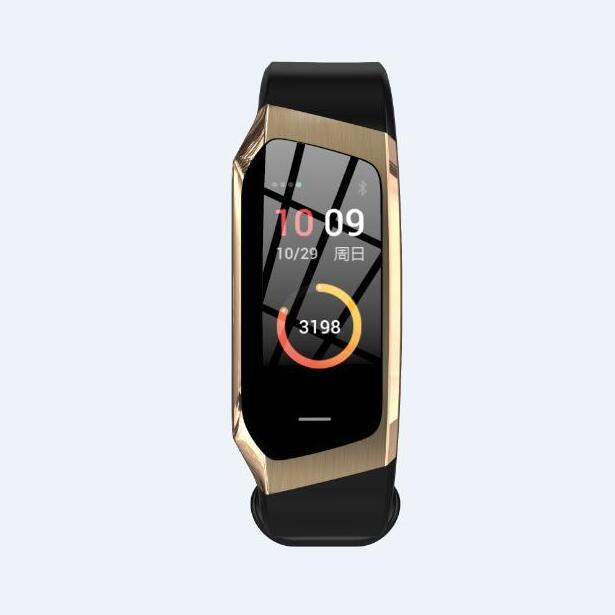 Waterproof Wristband Blood Pressure Fitness Smart Bracelet - Black Gold