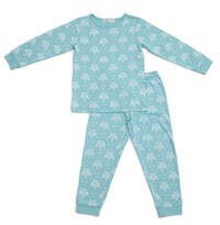Organic Nights: Aquatic Blue Childrens Long Sleeve/Long Pants Pyjama Set - 6-7 years