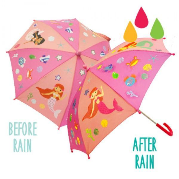 Colour Change Kids Umbrella - Mermaids