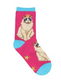 Kid's (7-10 Years) Practically Purrfect Crew Socks - Pink