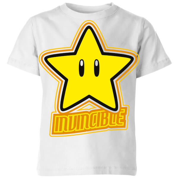 Nintendo Super Mario Invincible T-Shirt Kids' T-Shirt - White - 9-10 Years image