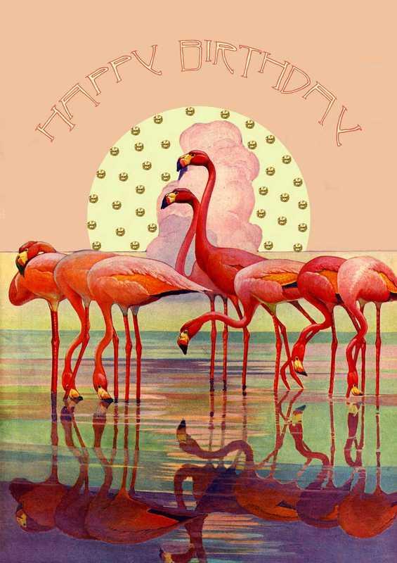 Madam Treacle: Pink Flamingo Sunset Birthday Card