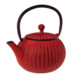 Red Ribbed Cast Iron Teapot (500ml)