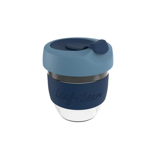 Leaf & Bean: Sorrento Glass Travel Cup - Marine/Midnight