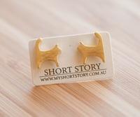 Short Story: Funky Play Earrings - Gold Cat