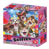 Super 3D: 48-Piece Jigsaw Puzzle - Cats Luau Selfie