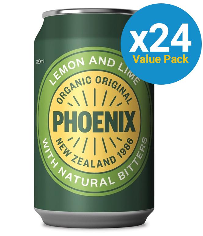 Phoenix Organic Lemon Lime & Bitters 320ml (24 Pack) image