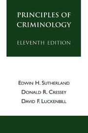 Principles of Criminology by Edwin H. Sutherland